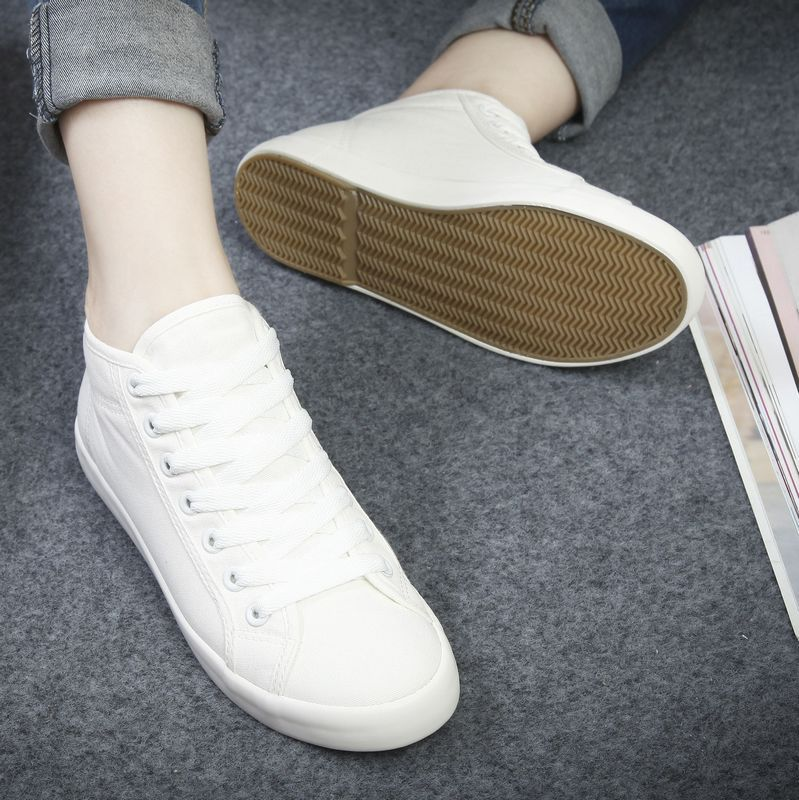 Buy Step Away Spring Models Solid Color Canvas Shoes High State Of