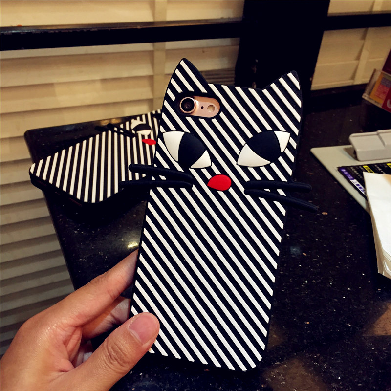 Stereo striped cat iphone7 lovely protective shell mobile phone sets of silicone soft apple 7 plus 5.5 inch