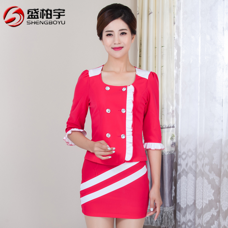 Stewardess uniforms foot reflexology technician overalls skirt suit female sleeve beautician ktv night games princess costume