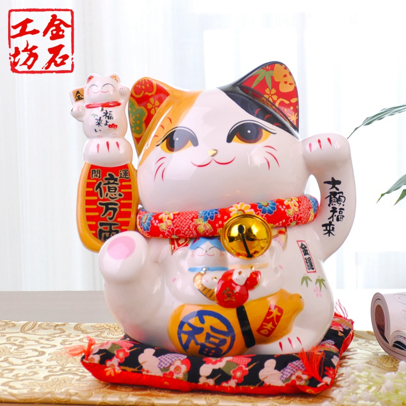 Stone workshop lucky cat lucky cat ornaments large ceramic piggy bank to save money in japan store opening gift ideas