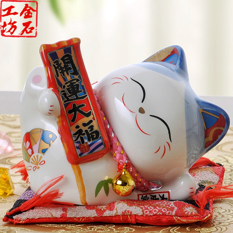 Stone workshop lucky cat lying dafu cute mini piggy bank ceramic lucky cat new year gift ideas gift