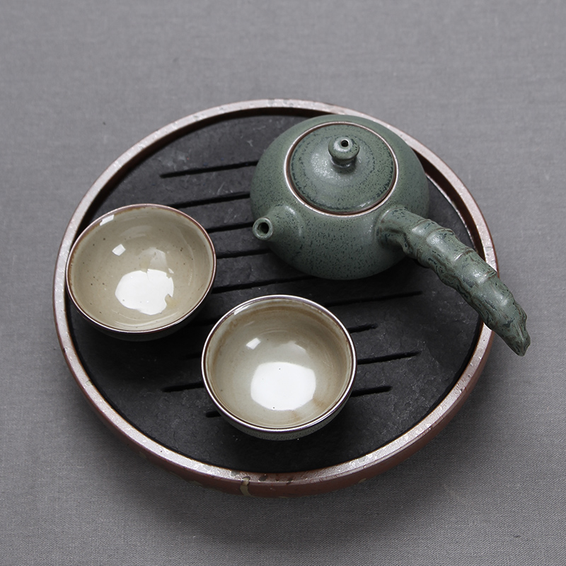 Stoneware tea set kung fu tea pot two cups of japanese retro office tea cup teapot package deals