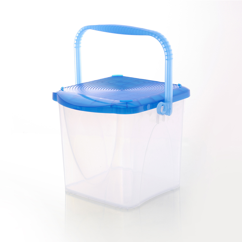 Straw house thick square transparent plastic bucket household cleaning bucket car wash bucket fishing bucket with a lid