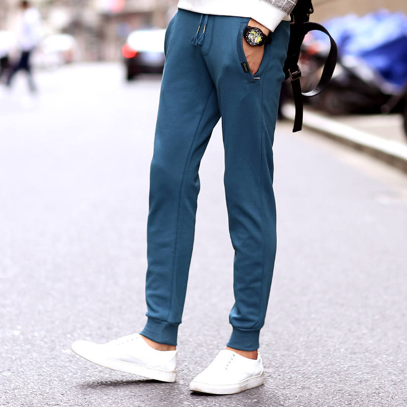 Student sports pants men shut cotton trousers thin section feet casual pants men fall knit wei pants big yards slim