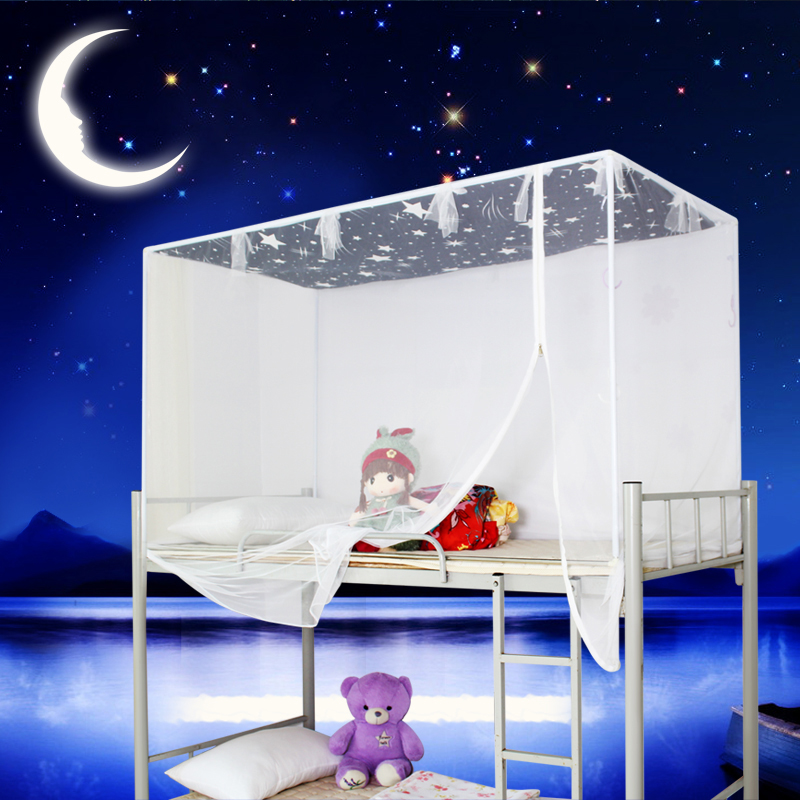 Students spread nets bunk beds bed 90cm dust the top bunk bed curtains closed on the side door zipper mosquito account
