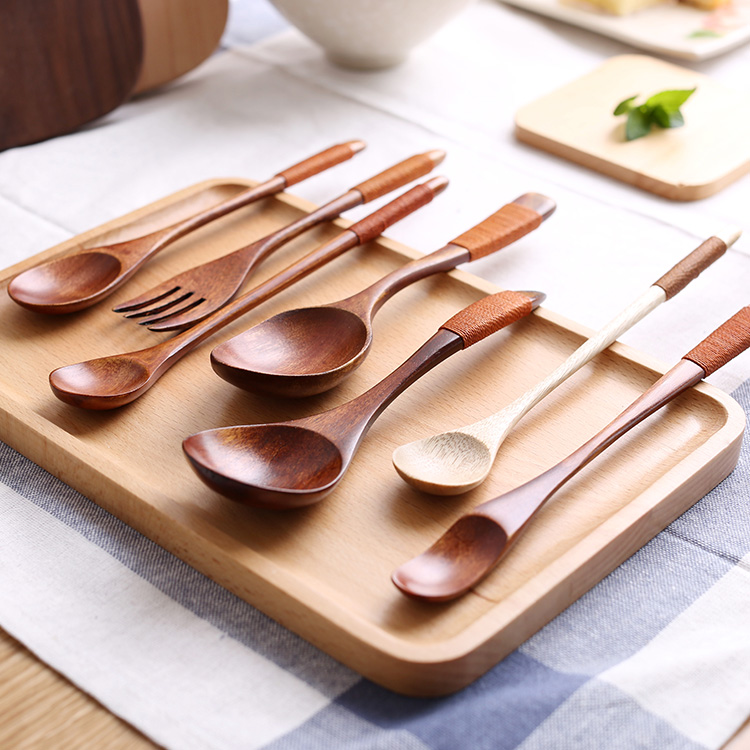 Su bao wooden spoon fruit fork spoon chopsticks suit japanese wind nordic home supplies spoon juices