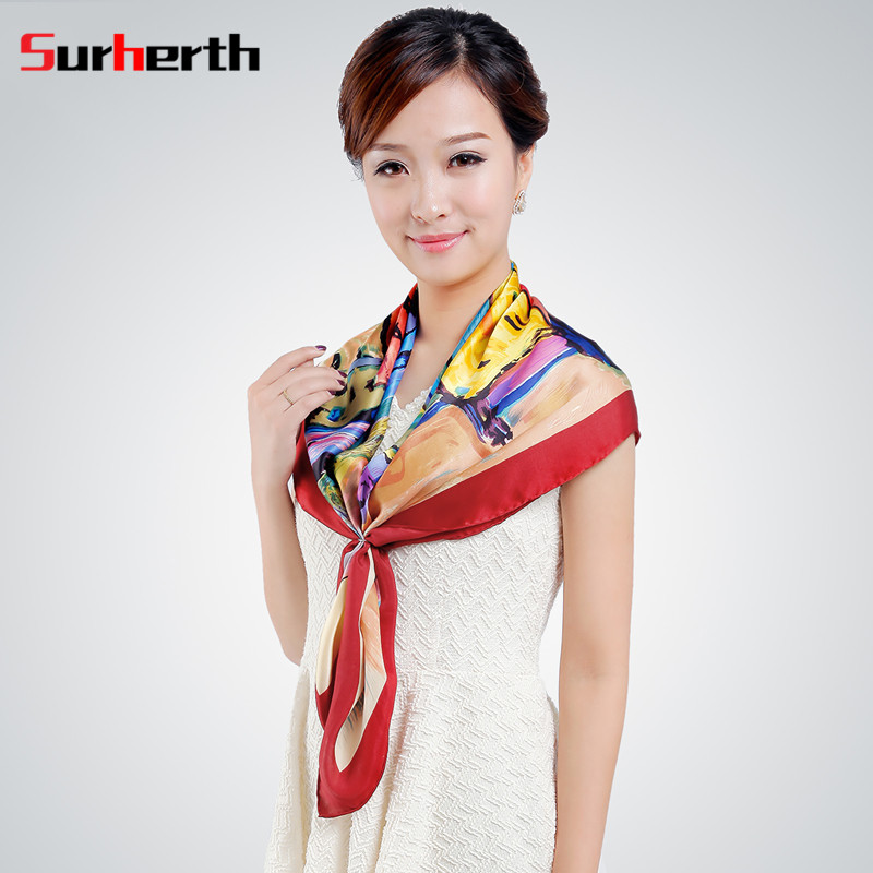Su heng surherth custom 2016 autumn new painting style silk ladies large square scarf scarves wild