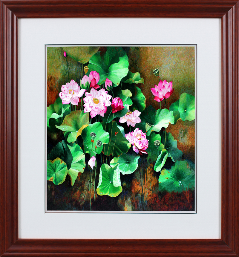 Su street family handmade embroidery embroidery finished painting the finished lotus non cross stitch decorative painting