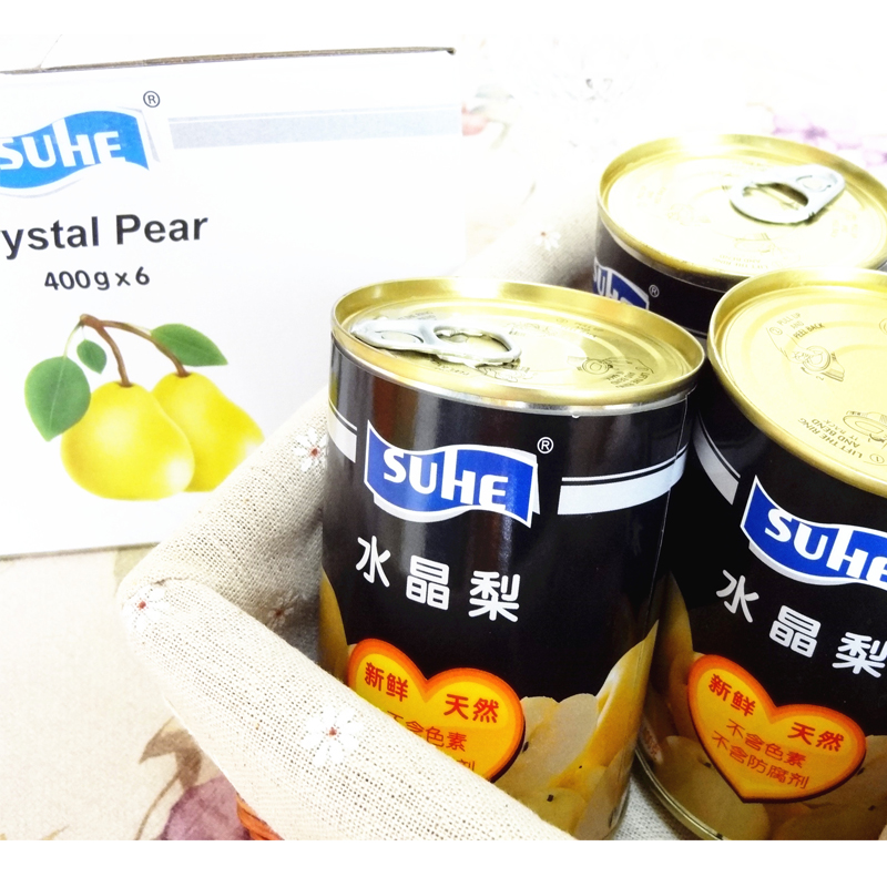 Su wo suhe crystal pear fruit canned 400g * 6 fresh fruit products open cans ready