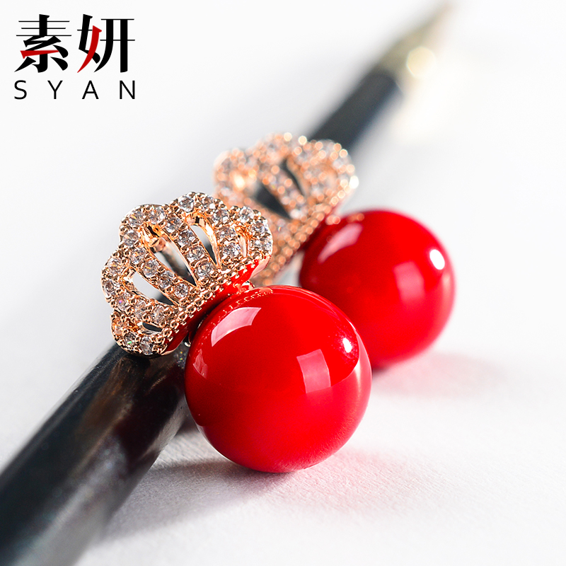 Su yan 925 silver earrings korean jewelry diamond crown pearl earrings female korean sweet ladies earrings earrings ear jewelry
