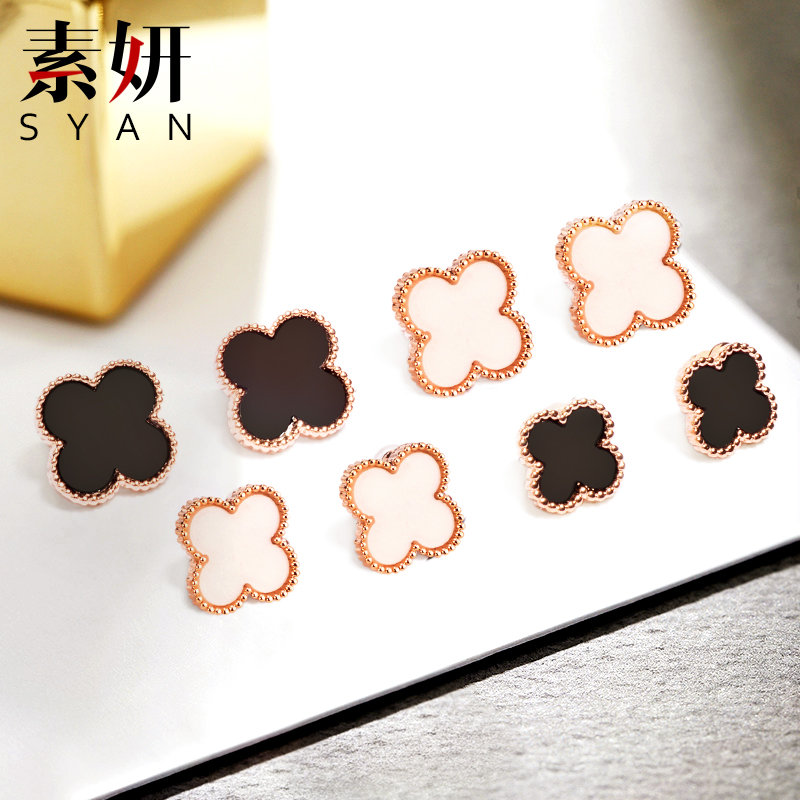 Su yan s925 silver korea clover earrings female fashion earrings sweet personality temperament ear jewelry sterling silver ear clip