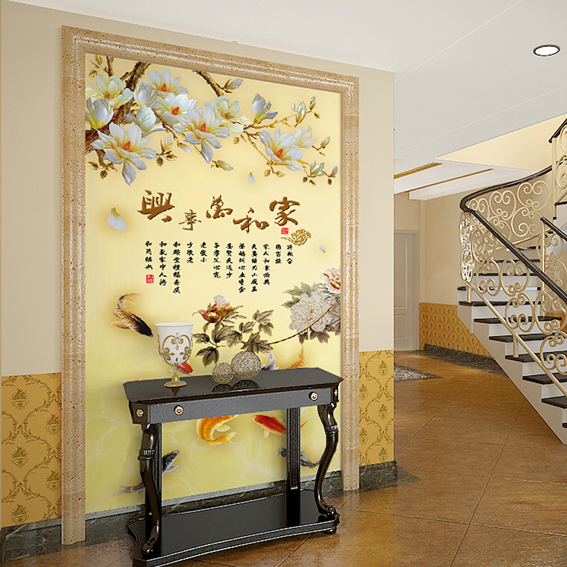 Su yi large mural wallpaper wallpaper living room entrance backdrop of modern chinese minimalist decorative painter and