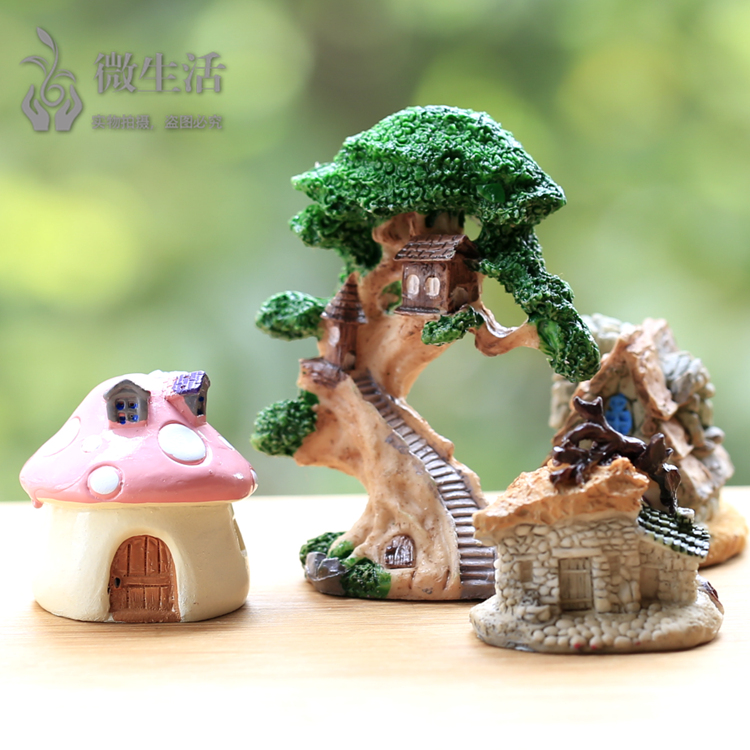 Succulents packages for micro landscape bonsai ornaments ornaments colored stones small farm house mushroom house