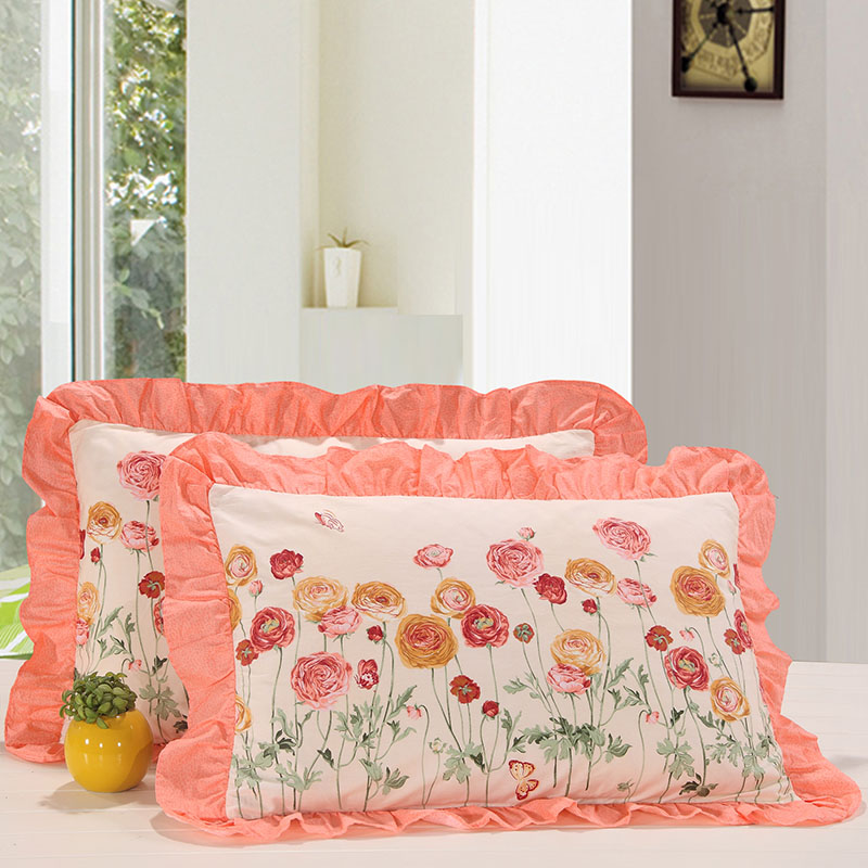 Sudie lace zipper 48 74CM one pair of cotton pillowcases cotton korean version of the korean flounced single pillowcase