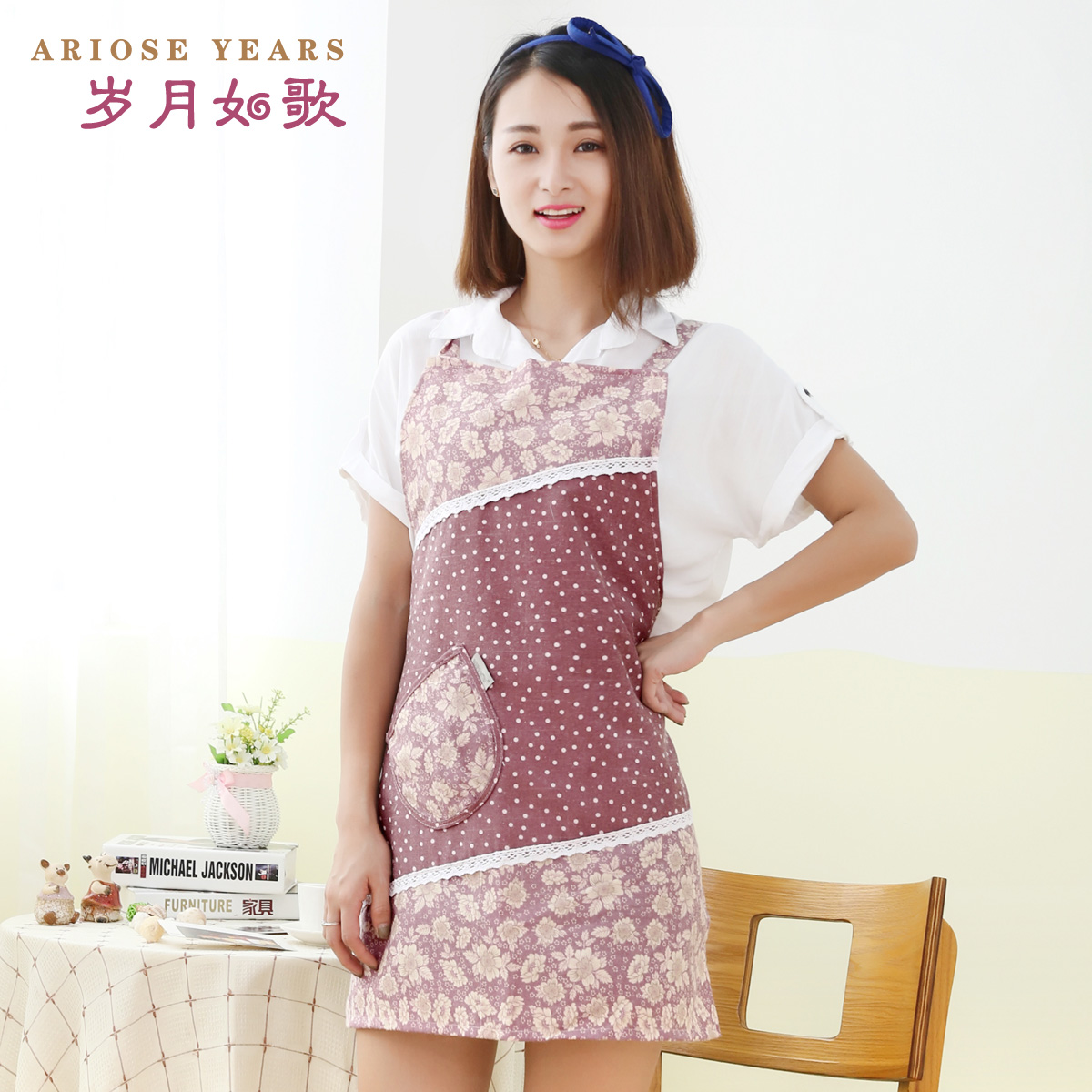 Suiyueruge hotel home kitchen aprons antifouling waterproof overalls korean fashion double thick