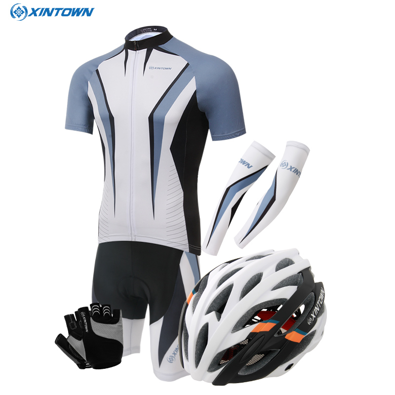 Summer and autumn short sleeve cycling jersey suit bicycle equipment clothing clothing for male and female head helmet gloves cuff combination
