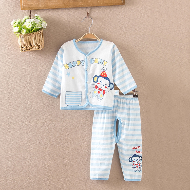 Summer baby cotton gauze gauze baby clothes suit underwear sets open files sleeved summer air conditioning service