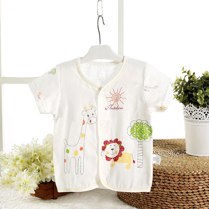 Summer baby cotton gauze short sleeve shirt sleeve shirt thoracotomy baby gauze gauze sleeve dress child summer