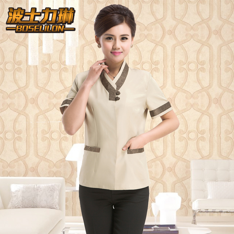 Summer clothes cleaning hotel room attendant uniforms sleeved clothing hotel uniforms for men and women pa cleaners