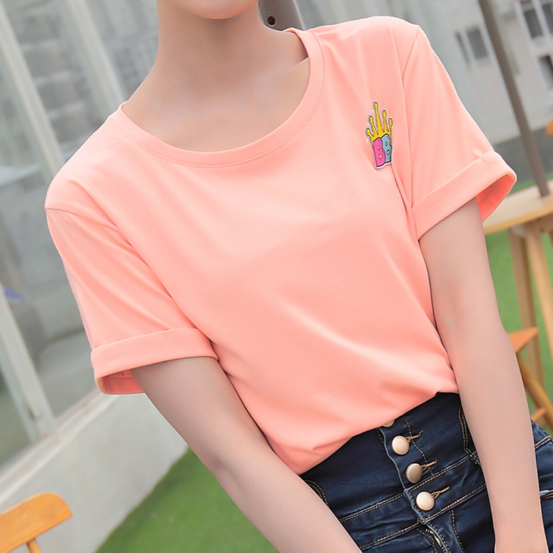 Summer compassionate short sleeve cotton t-shirt female white shirt bottoming shirt was thin solid black slim korean version of the sleeve