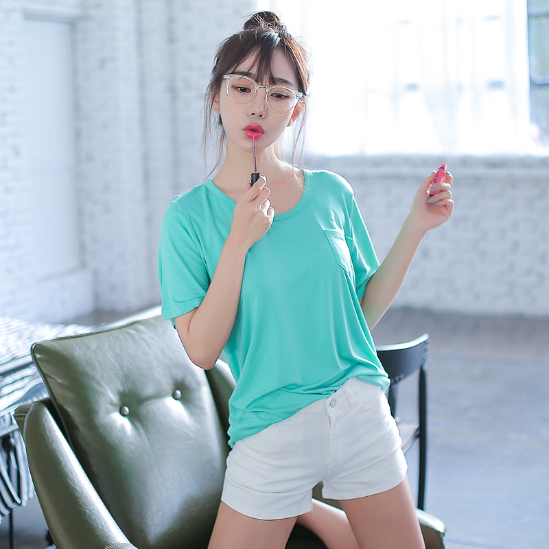 Summer cotton short sleeve pocket t-shirt female summer korean women slim was thin student jane about wild solid color t-shirt
