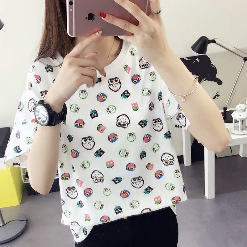 Summer dress short sleeve t-shirt female korean fan 2016 new wave of summer korean version of women's t-shirt printing summer clothes summer