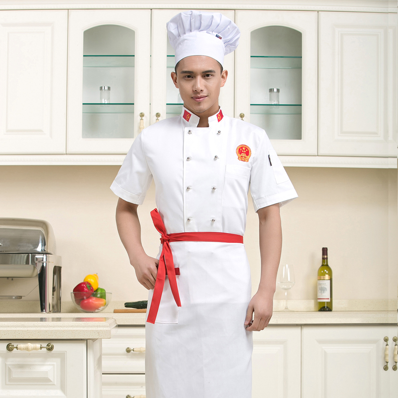 Summer hotel chef clothing chef uniforms chef clothing chef restaurant kitchen chef uniforms short sleeve men and women short sleeve summer