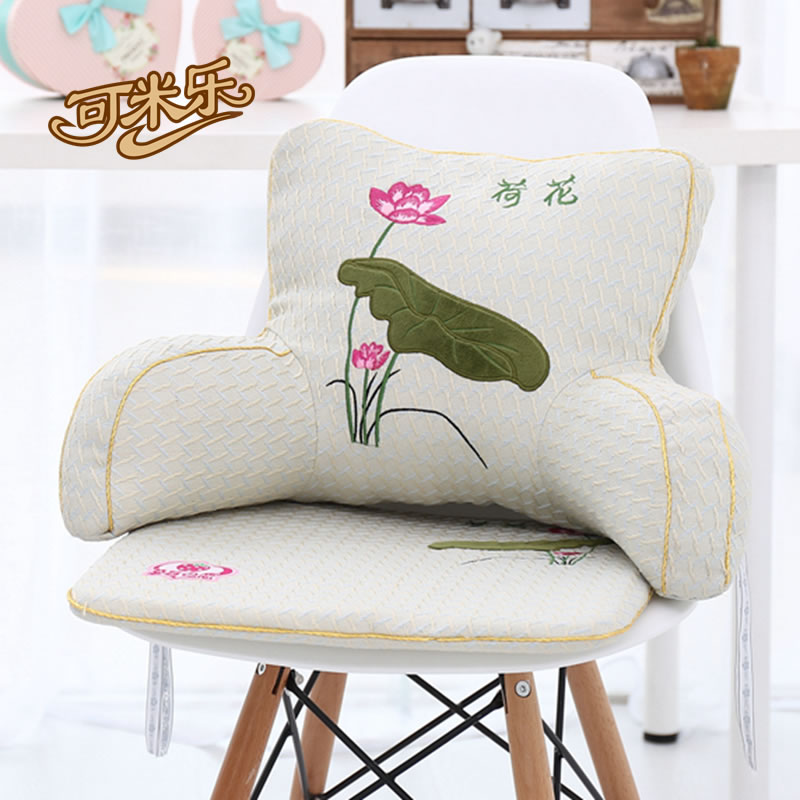 Summer ice silk car seat cushion pillow office lumbar pillow embroidered piece waist cushion back cushion shipping