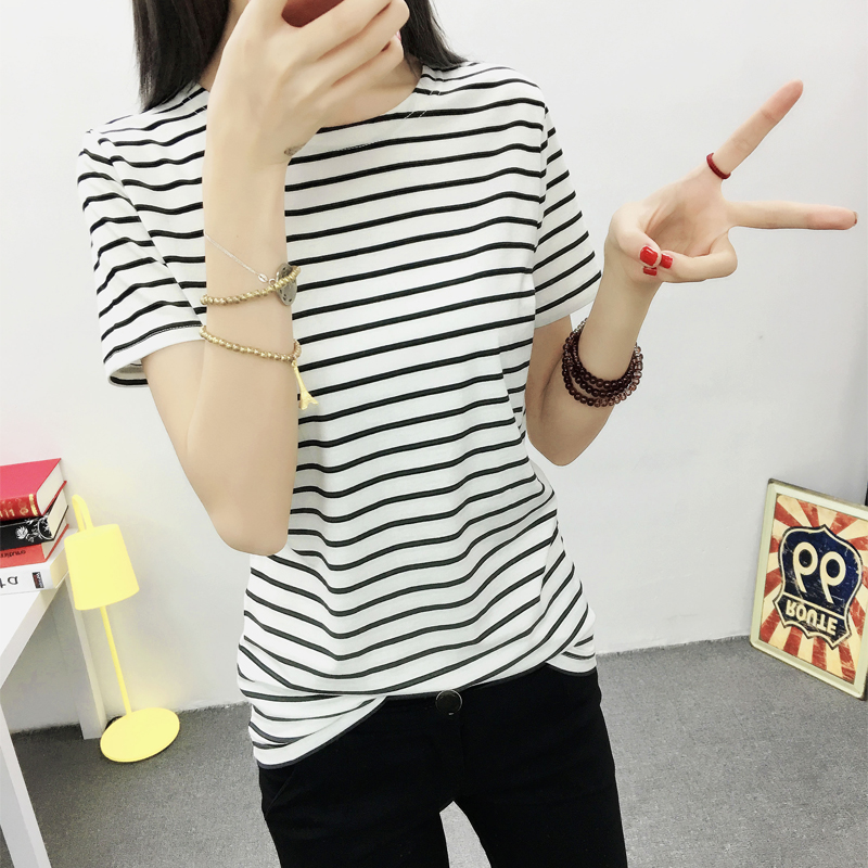 Summer korean fan round neck slim compassionate girls black and white striped t-shirt female korean student shirt compassionate woman