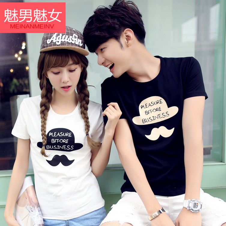 Summer korean lovers short sleeve t-shirt 2016 summer youth autumn new cartoon bearded half sleeved shirt printing