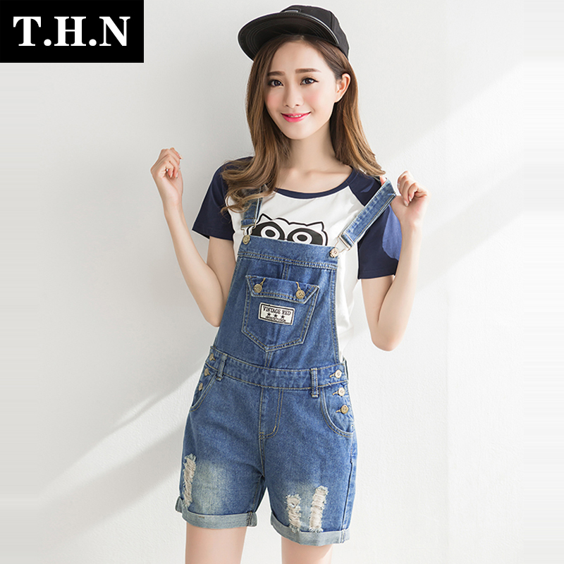Summer korean version of college wind adolescent girls high school students college wind loose frayed denim shorts strap suspenders piece pants