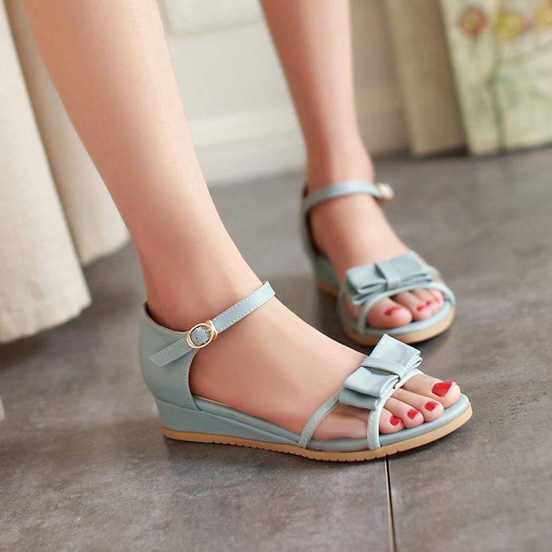 Get Quotations · Summer korean version of the bird garland cute bow flat  mesh open toe wedge sandals women 05130d05cf93