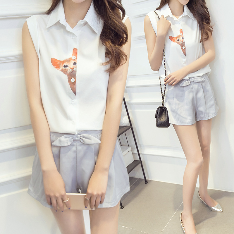 Summer korean version of the consultancy firm booz pussies sleeveless shirt chiffon shirt wide leg pants piece fitted female tide simple