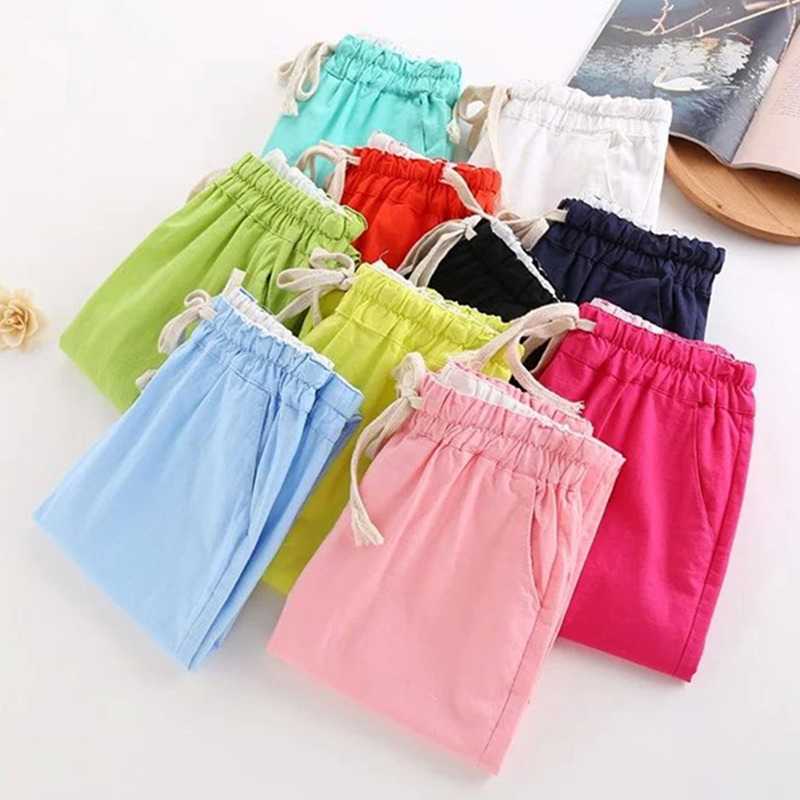 Summer korean version of the small fresh candy colored linen pants pantyhose female significantly thin elastic waist cotton casual harem pants