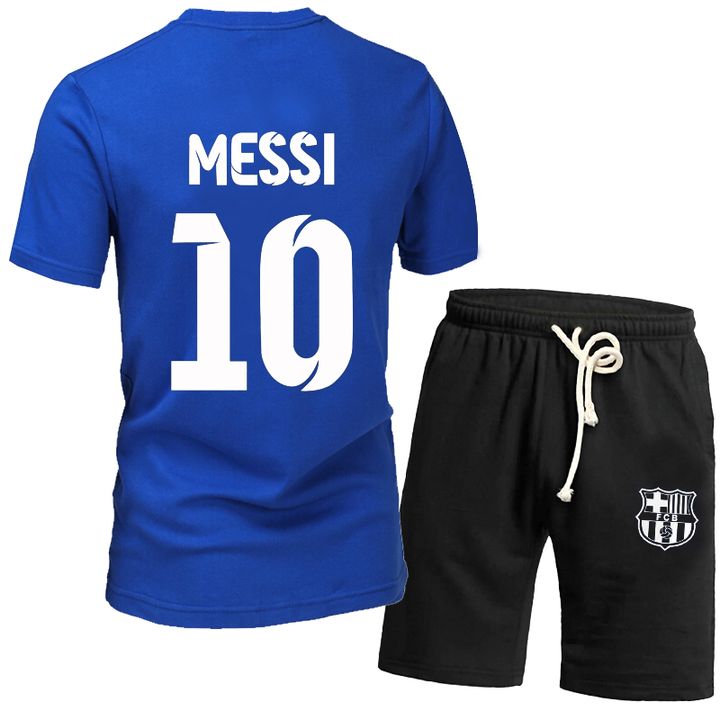 51eb345e9 Get Quotations · Summer men s short sleeve t-shirt suit xl j messi  barcelona in the champions