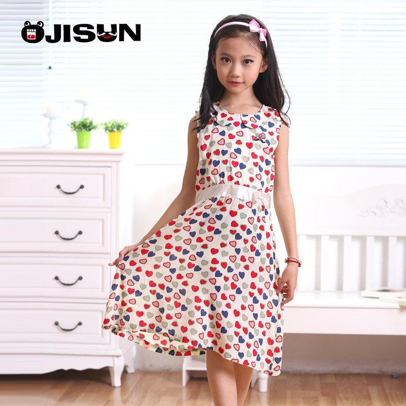 Summer new children's clothing girls jumpsuit korean a-line dress child big virgin cotton floral sleeveless vest dress