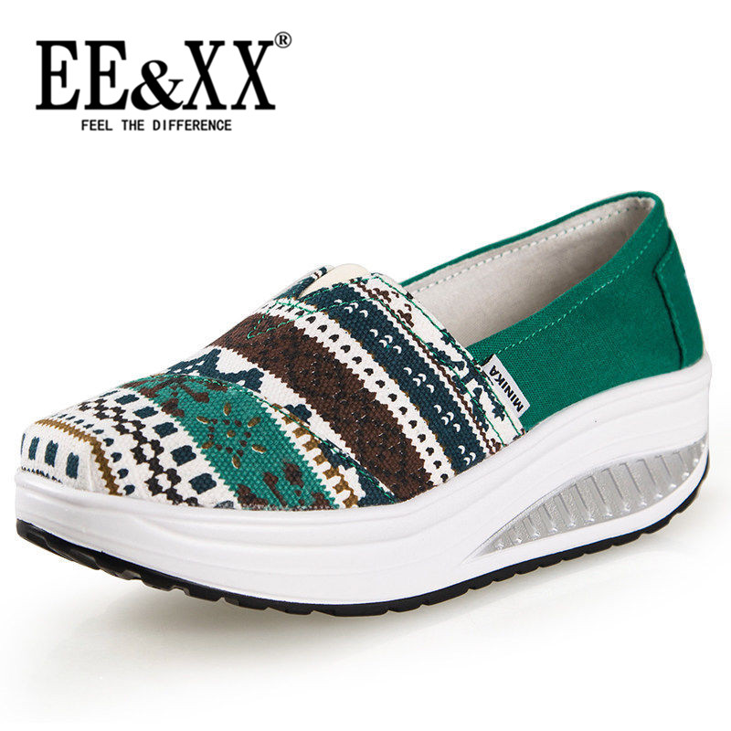 Summer new korean version of EEXX2016 wild canvas shoes fashion slope with thick crust stripe sets foot shoes tide 3766