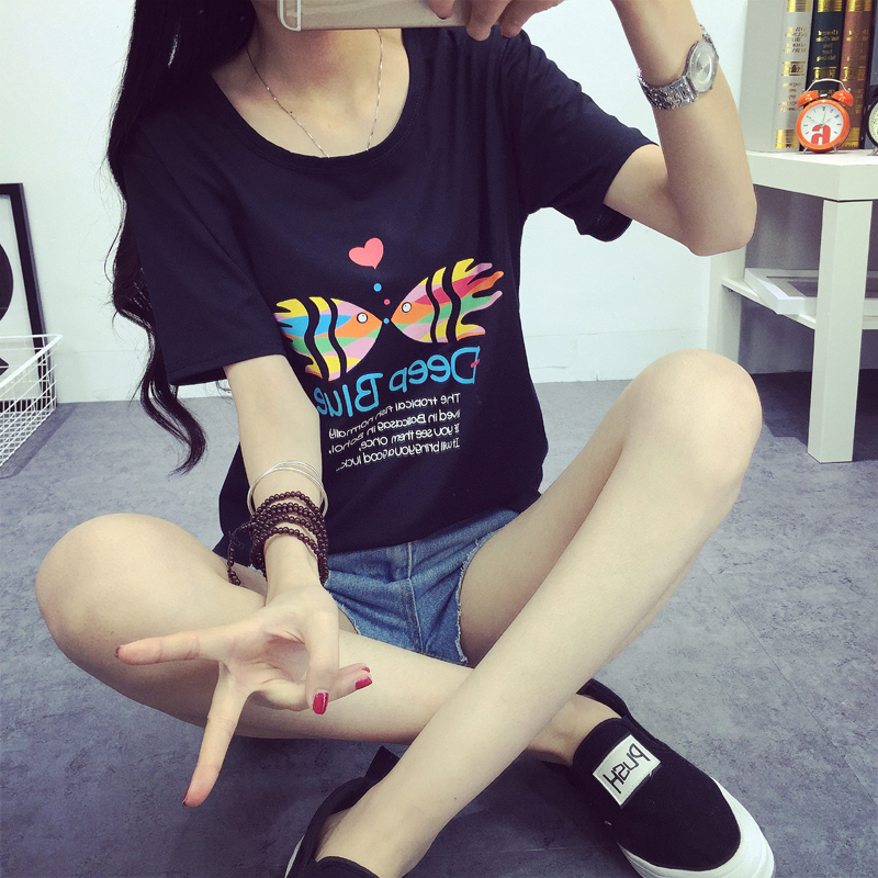 Summer new korean version of large size women bottoming shirt loose sweet and lovely girl half sleeve short sleeve t-shirt blouses