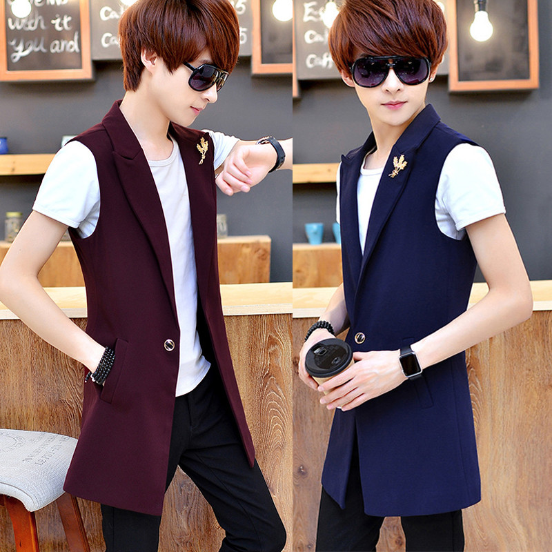Summer new men's vest tide male hairstylist nightclub slim vest sleeveless long section of black men's jacket