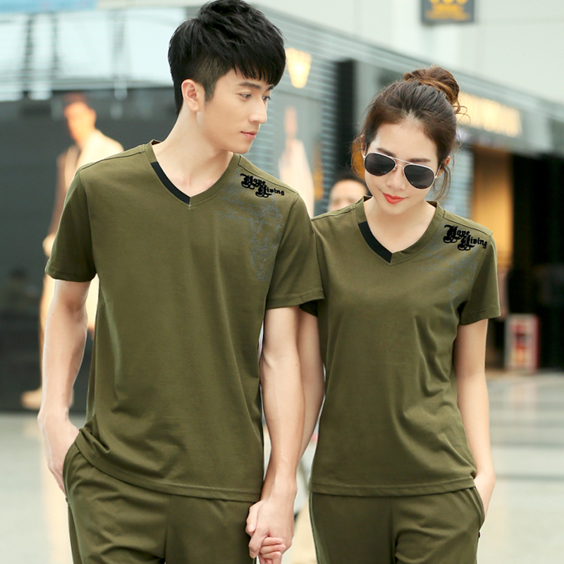Summer new ms. big yards breathable sports t-shirt men short sleeve v-neck t-shirt korean version of casual clothes couple models