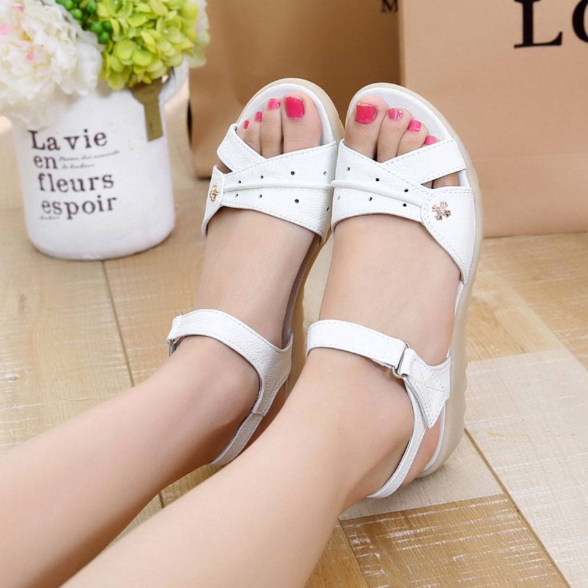 0568ec0c31fe85 Get Quotations · Summer new real leather sandals open toe sandals slope  with her mother nurse shoes tendon soft