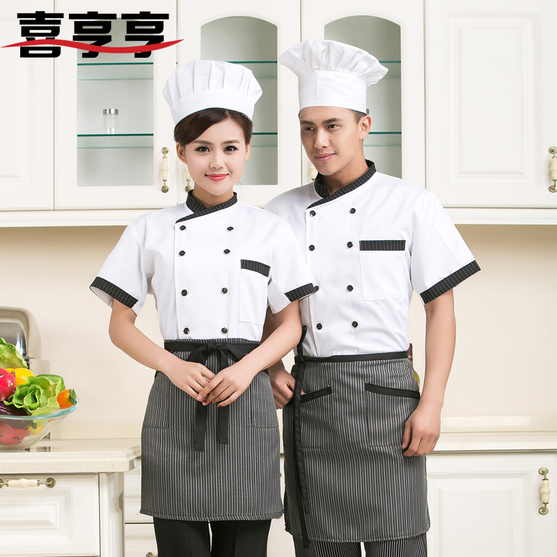 Summer new short sleeve chef service hotel restaurant kitchen restaurant hotel restaurant kitchen chef uniforms white black