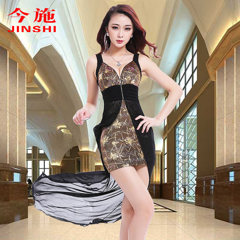 Summer new slim long section of stage costumes miss nightclub dress sexy evening dress long dress evening dress catwalk