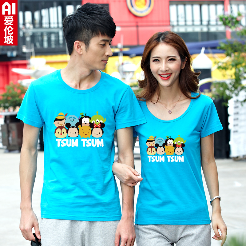 Summer new white cartoon cute couple cotton short sleeve t-shirt printing female korean fan sleeve youth t-shirt