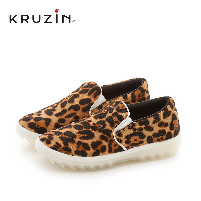 Summer new women's casual shoes to help low KruZin2016 bottom influx of european and american fashion leopard flat shoes set foot