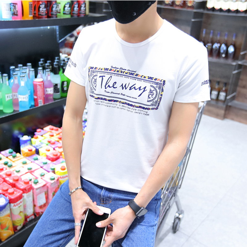Summer round neck short sleeve t-shirt male teenagers slim t-shirt tide male bottoming shirt printing short sleeve t-shirt simple fashion