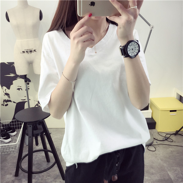 Summer short sleeve white v-neck t-shirt spring 2016 new wave of summer clothes women korean version of the summer korean fan shirt