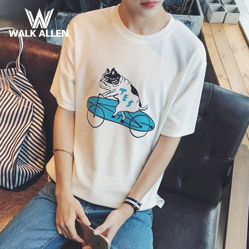 Summer small fresh loose compassionate youth short sleeve t-shirt male korean tidal card pass printing bottoming shirt men