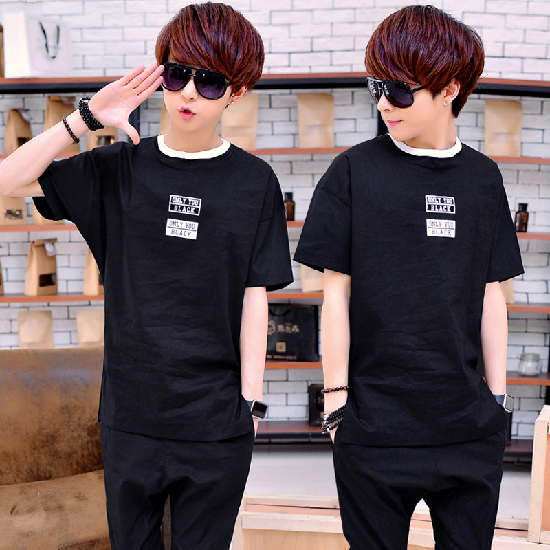 Summer sportswear suit men short sleeve thin summer men's casual sports suit slim korean version of the trend of students