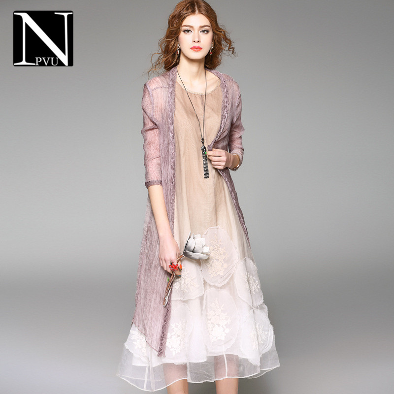 Summer thin section NPVU2016 ladieswear shawl ladies fashion wild solid color long sections slim female coat 2362